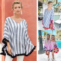 Wholesale casual summer maternity clothes resale online - Women Striped V Neck Cloak Tops tassel shawl Casual Tees Maternity Women Summer Clothes T shirts Tops cape LJJA2889
