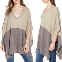 collar de pie capa poncho al por mayor-Mujeres ocasionales del bloque del color del cuello de V asimétrica Poncho suelta mantón del suéter suéter ropa de las mujeres superiores