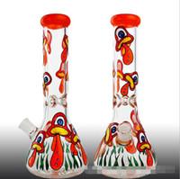 Wholesale mushroom hookah pipe resale online - Newest Colored Owl Bird Mushroom Printing Glass Water Bong Pipe Oil Rig Hand Spoon Painted retro Bubbler Hookah Smoking Tools Styles