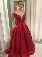 Wholesale wonderful evening dresses for sale - Group buy Wonderful Dark Red Satin Long Prom Dresses Off The Shoulder Floor Length High Quality Evening Gowns Robe De Soiree Cheap