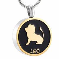 pulseras conmemorativas al por mayor-Collar Memorial signo IJD9968 acero inoxidable La serie cumpleaños de Leo Constelación de Cenizas Urna Souvenir collar pulsera