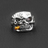 anillo de ojo rojo al por mayor-Rock Punk Skull Ring Men Clear Red Zircon Eye Rings