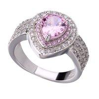 zirkonia edelstein ring großhandel-Silber Überzogene Frauen Kristall Ringe Zirkonia Diamant Luxus Ring Edelstein Liebe Ringe für Hochzeit Freies Verschiffen