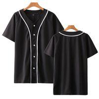 летняя одежда для подростков оптовых-2019 сплошной цвет футболки женщины / мужчины однобортный футболка лето с коротким рукавом бейсбол трикотаж подростковая одежда