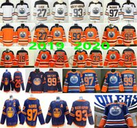 çocuklar gretzky mayo toptan satış-2020 Yeni Üçüncü Edmonton Oilers # 29 Leon Draisaitl 93 Ryan Nugent-Hopkins 99 Wayne Gretzky 97 McDavid Man Bayan Çocuk Gençlik Hokeyi Formalar