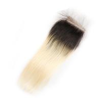12 inç ombre saç uzantıları toptan satış-1B 613 Ombre Sarışın 4x4 Dantel Kapatma Brezilyalı Düz Virgin İnsan Saç Uzatma El Bağlı Perulu Brezilyalı Saç 10-20 Inç