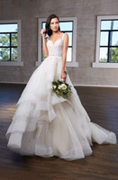 Wholesale lace front corset wedding dresses for sale - Group buy Spaghetti Straps Lace Wedding Dresses Asymmetrical Cascading Skirts Beaded Applique Tulle Corset Wedding Dress Bridal Gowns