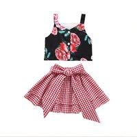 roupa de suspensórios de bebê venda por atacado-Crianças roupas roupas meninas 2019 floral suspender top + bow pant duas peças conjunto de correspondência bebê treino fatos de treino infantil designer conjuntos de roupas
