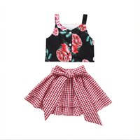 Wholesale baby girl matching outfits for sale - Group buy kids outfits clothes girls floral suspender top bow pant two piece matching set baby tracksuit infant designer tracksuits Clothing Sets