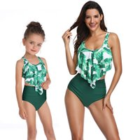 Wholesale mother daughter clothing boutique resale online - Boutique Family Matching clothes Mother and daughter Swimwear Bikini set tropical Leaves Ruffles Top High waist Shorts Boutique Hot selling