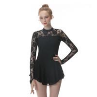 eislaufen kleider schwarz großhandel-Schwarzes Eiskunstlaufkleid mit langen Ärmeln und Eislaufrock aus Spandex