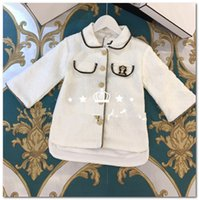 Wholesale girl pearl collar princess dress resale online - Brand girls dresses kids pearls crown brooch princess dress children lapel single breasted long sleeve dress lady style kids clothes P0004