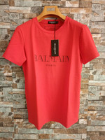 Wholesale T Shirt - Balmain Mens Designer T Shirts Black White Red Mens Luxury Brand Designer T Shirts Top Short Sleeve S-XXL
