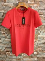 t shirt оптовых-Balmain Mens Дизайнерские футболки Черный Белый Красный Mens Дизайнерские футболки Топ с коротким рукавом S-XXL