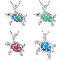 ingrosso imitazione di gioielli animali-Collane di tartaruga Moda Argento Blu Imitazione Opal Sea Turtle Collana con ciondolo Collana di gioielli da donna in oro bianco da sposa