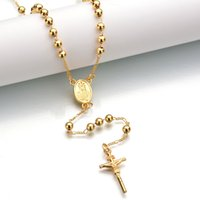 ingrosso catena di bead jesus-Collane con ciondolo Gesù Collane di design Preghiera di alta qualità Collana con catena di perle Gioielli per donna Regalo Croce Vendita diretta in fabbrica