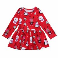 Wholesale penguin kids clothes for sale - Group buy Xmas Baby Girls Dress Toddler Kids Christmas Outfits Cartoon Snowman Deers Penguin Printed Long Sleeve Dresses Clothes