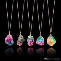 Wholesale rock quartz pendant resale online - Pretty Rainbow Stone Beautifully Pendant Necklace Crystal Quartz Healing Point Chakra Rock Necklace Color Gold Chain Necklace