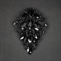 черные кристаллы для одежды оптовых-Luxury Black Crystal Brooch Fashion  Jewelry Brooches Cute Pins for Women Brincos Mujer Party Costume Clothes Accessories