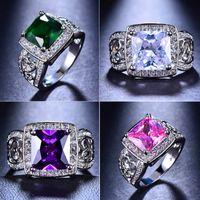 ingrosso anelli maschii viola-Luxury Male Female Big Purple Green Pink Stone Ring Vintage 925 anelli di nozze d'argento Band Promise anello di fidanzamento Regali di Capodanno