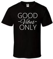 ingrosso rosa camicie crossfit-Good Vibes Only - T-Shirt nera Crossfit Gym Yoga Rave EDM Plur tutte le taglie S-2XL suit hat pink t-shirt