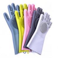 Wholesale dishes washing glove resale online - Magic Washing Gloves Brush Silicone Glove Resuable Household Scrubber Anti Scald Dishwashing Gloves Kitchen Cleaning Tools pairs GGA1492