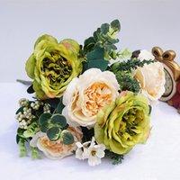 ingrosso vaso di peonia-1 mazzo di fiori di seta artificiale Bouquet per vasi di casa Decorazione di cerimonia nuziale Natale Seta Retro peonia Bouquet da sposa Pianta finta