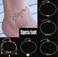 Wholesale bridal sandal gold resale online - 2019 Barefoot Sandals For Wedding Shoes Sandel Anklet Chain Hottest Stretch Gold Toe Ring Beading Wedding Bridal Bridesmaid Jewelry Foot