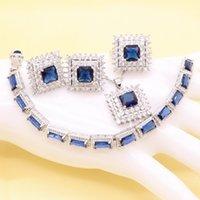 aretes blancos bisuteria al por mayor-925 Silver Blue Zircon Costume Crystal White Zirconia Conjuntos de joyería nupcial para mujeres Collar Colgante Pendientes Anillos Pulseras