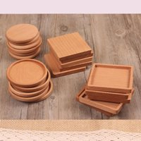 Wholesale solid wood table for sale - Group buy 4 Style Solid Wood Coasters Coffee Tea Cup Pads Insulated Drinking Mats Teapot Table Mats home desk decor items FFA2525N