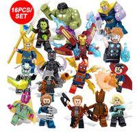 koruma blokları toptan satış-16pcs / lot Avengers Hulk Thor, Kaptan Demir-man Kara Dul Yapı Taşları Seti Oyuncak Çocuk Hediyeleri