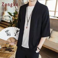 homens japoneses do quimono venda por atacado-Zongke quimono casaco cardigan quimono japonês homens jaqueta streetwear clothing homens jaqueta homens hip hop blusão 2019 primavera