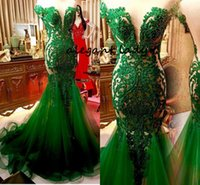 Wholesale embroidery dress lace evening gowns for sale - Group buy Hunter Emerald Green Mermaid Evening pageant dresses Saudi Arabic Lace Sexy Sheer Back Prom Gowns Vestidos Longo