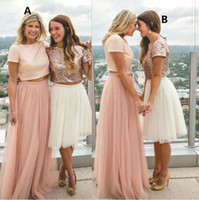 Wholesale short country formal dresses resale online - 2019 Two pieces Mismatched Sequins tulle Bridesmaid Dresses short Sleeve Cheap Plus Size Country Pleated Formal Prom Dress plus size