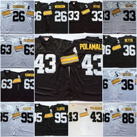 xxl camisa de futebol 43 venda por atacado-Homens, Pittsburgh, # 43, Troy, Polamalu, camisa de futebol, vindima, Rod Woodson, Merril, Hoge, Dermontti, Dawson, Greg, Lloyd, jerome, Bettis, hines, divisão, jersey