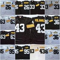 xxl fußball trikot 43 großhandel-Männer Pittsburgh # 43 Troy Polamalu Trikot Vintage Rod Woodson Merril Hoge Dermontti Dawson Greg Lloyd Hieronymus Bettis Hines Ward Jersey