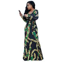ingrosso vestiti alla moda vestiti-Africa Vestito alla moda con catena dorata stampata a manica lunga con cintura Abito lungo da donna Abito aderente autunno lungo Abito da festa