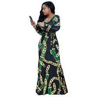 roupas de moda venda por atacado-África roupas moda corrente de ouro impresso manga comprida com cinto maxi dress mulheres outono bodycon robe longo partido desgaste