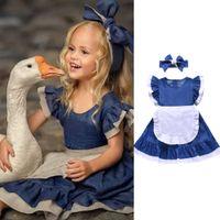 без рукавов оптовых-Lovely Girls Kids Toddler Baby Princess Party Pageant Denim Dresses Clothing Sleveless Ruch Apron Maid Style Sundress 3-8T