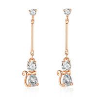Wholesale copper earring for sale - MYBEBOA Genuine Elegant Cat Stud Earrings for Women Clear CZ Fine Jewelry