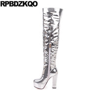 Wholesale dancing shoes woman for sale - Group buy big size shoes thigh high boots for plus women over the knee chunky wide calf metallic exotic dancer silver heel dance fetish