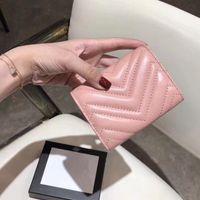 rosa farbe damen geldbörse großhandel-Luxus Brieftasche für Frauen Lady Girl Mini Bifold Leder Brieftasche Mode Geldbörse für Rosa Schwarz Farbe