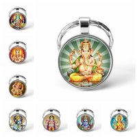 Wholesale goddess rings resale online - Hinduism Religion Key Chains God Brahma Lord Lakshmi Goddess Glass Cabochon Pendant Key Rings Keychain Fashion Jewelry Gift