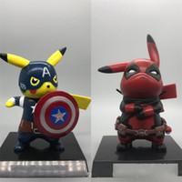 ingrosso giocattolo del ragazzo della ragazza di anime-Detective Pikachu Figure Captain America Model Monster Anime Giocattoli Boy Girl Bambini Materiale PVC Stili multipli Souvenir 20mh F1