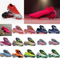 Wholesale blue ronaldo resale online - 2020 top quality mens soccer shoes Mercurial Vapors XIII Elite FG soccer cleats CR7 Ronaldo neymar football boots Tacos de futbol
