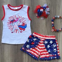 Wholesale toddlers girls clothes for sale - Fourth of July Baby Girls Sets Kids Cartoon Unicorn Printed Top Shorts Outfits Independence Day Toddler Kids Clothing Set
