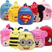 Wholesale cartoon plush backpack resale online - Cartoon Kids Plush Backpacks Mini schoolbag Plush Backpack Children School Bags Girls Boys Backpack styles