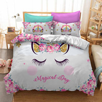 Wholesale 3d king bedspread for sale - Group buy Magical Cartoon Cute Unicorn Duvet Cover Set For Kids Adults Colorful Bedspread Pillowcase Duvet Cover Sets Twin Full King Size