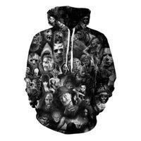 chaqueta de fantasmas al por mayor-Para hombre diseñador blanco sudadera con capucha sudadera sudadera jerseys chaquetas 2019 otoño nuevos amantes impresión digital 3D cabeza fantasma suéter una generación
