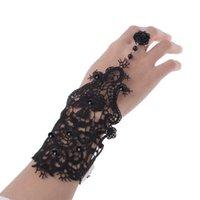 ingrosso braccialetti gotici fatti a mano-Bracciale fatto a mano da donna vintage da sposa in pizzo gotico con fiore nero e set da sposa per eventi speciali